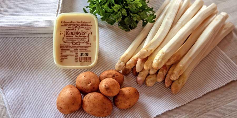 Frühkartoffeln mit Spargel und Kochkäse aus der Odenwälder Kochkäserei