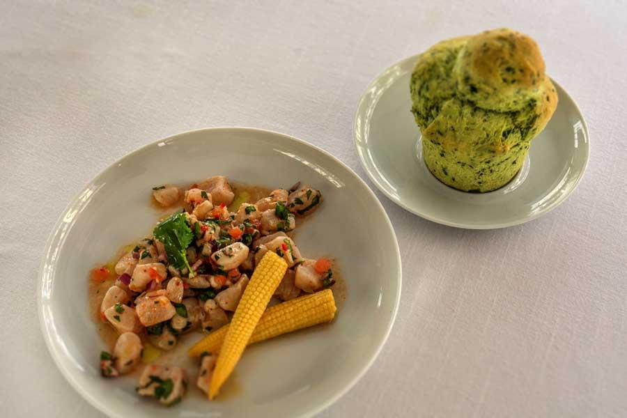 Ceviche vom Odenwald-Saibling mit Mini-Mais und Bärlauch-Brioche