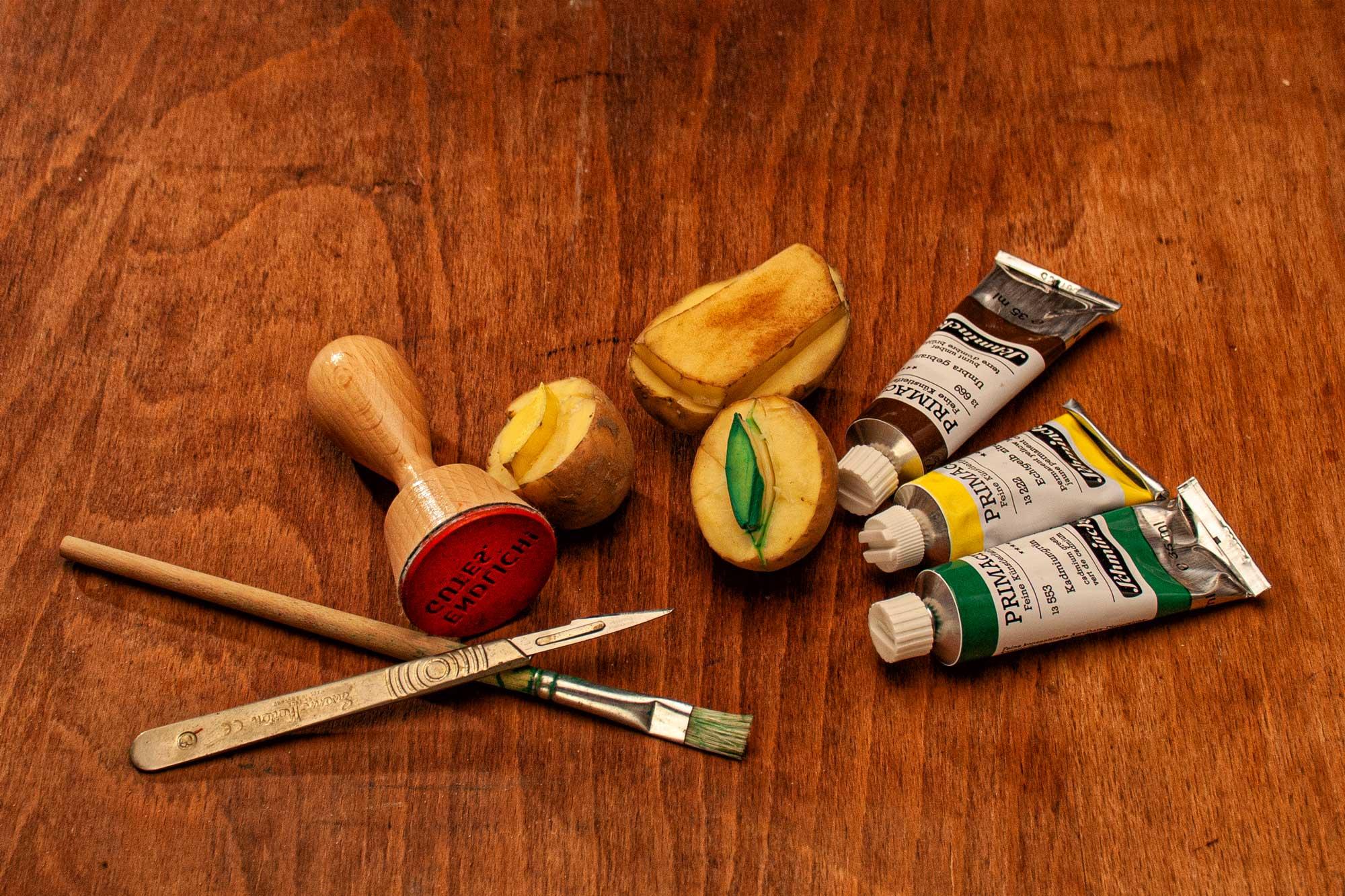 Kartoffeldruck Materialien